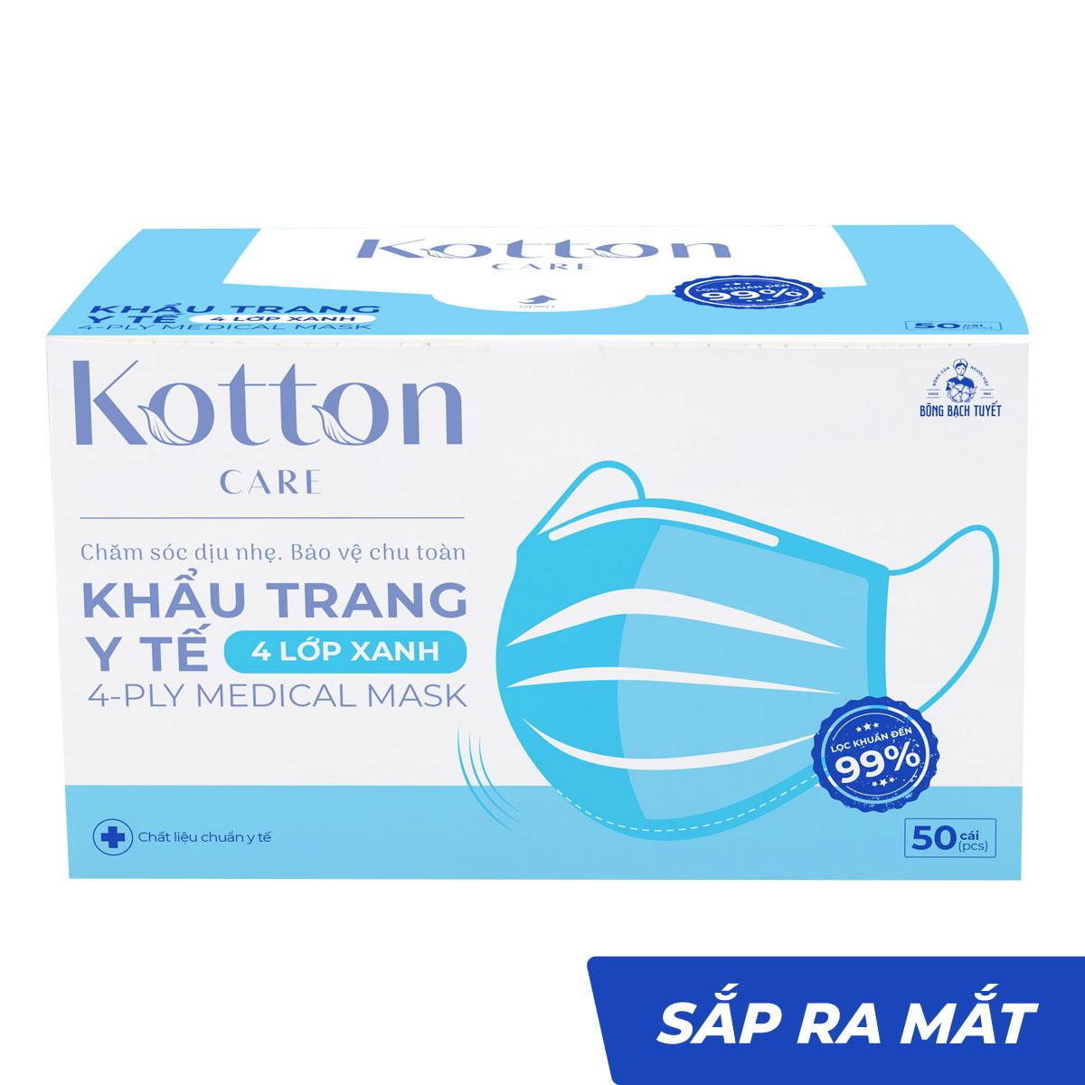 Khẩu trang y tế xanh 4 lớp 50 cái kháng khuẩn - Kotton Care