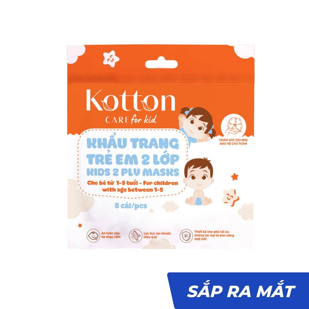 Khẩu trang trẻ em hồng 2 lớp 8 cái Kotton Care for Kid