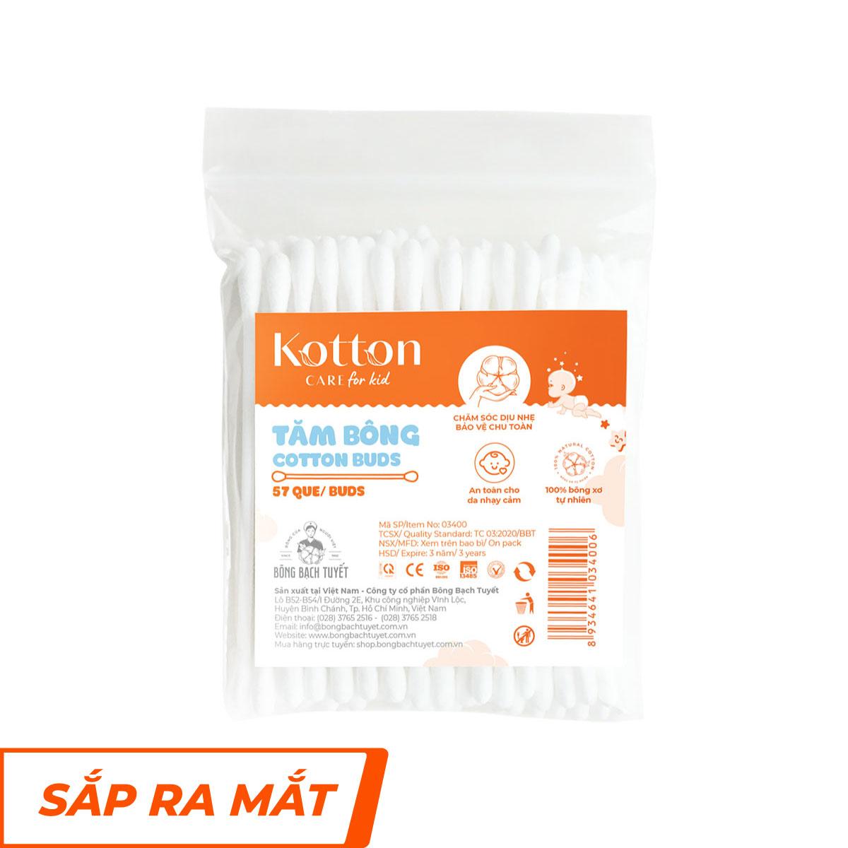 Tăm bông trẻ em thân nhựa gói 55 que Kotton Care for Kid