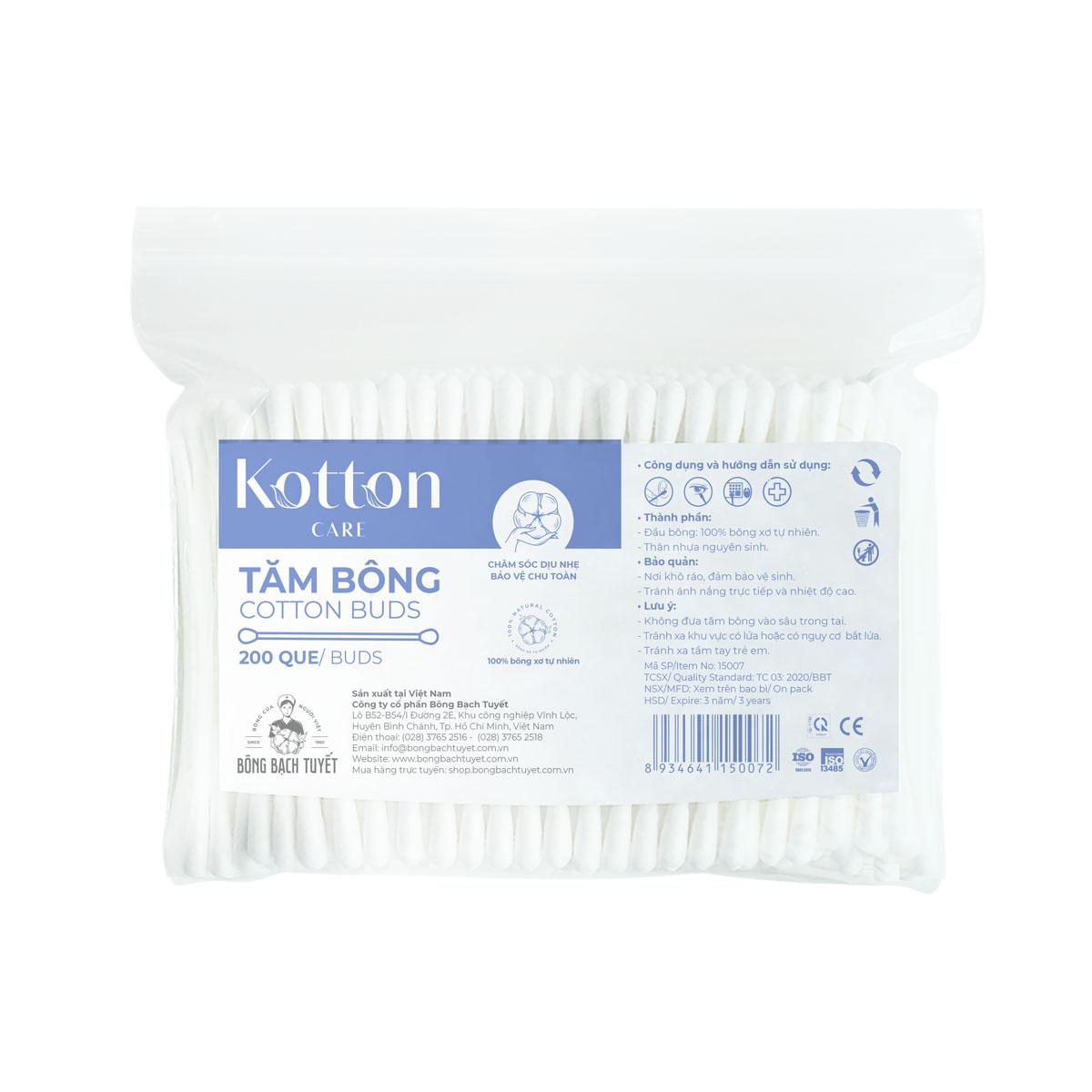 Tăm bông Kotton Care 200 que gói