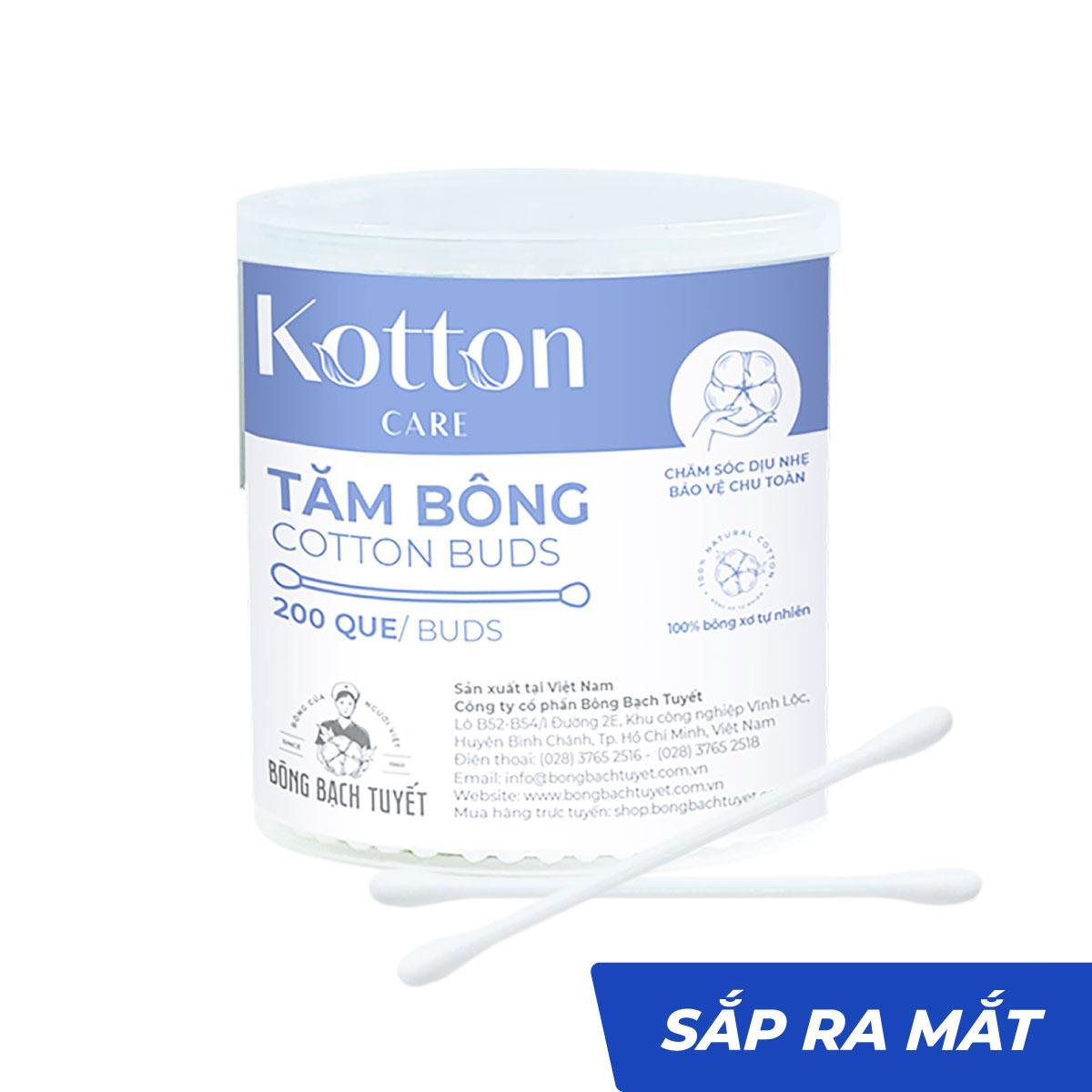 Tăm bông thân nhựa hộp tròn 200 que Kotton Care