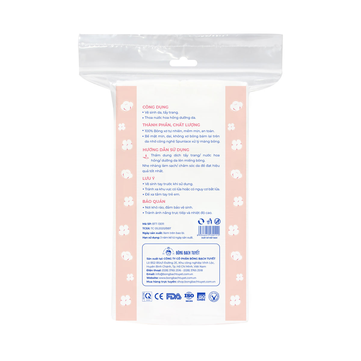 Bông tẩy trang cotton 180 miếng bề mặt mịn - Kotton Beauty