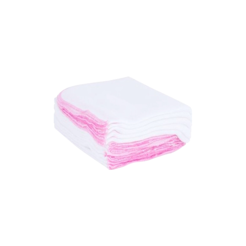 Pink-trim baby cotton gauze handkerchief (pack)
