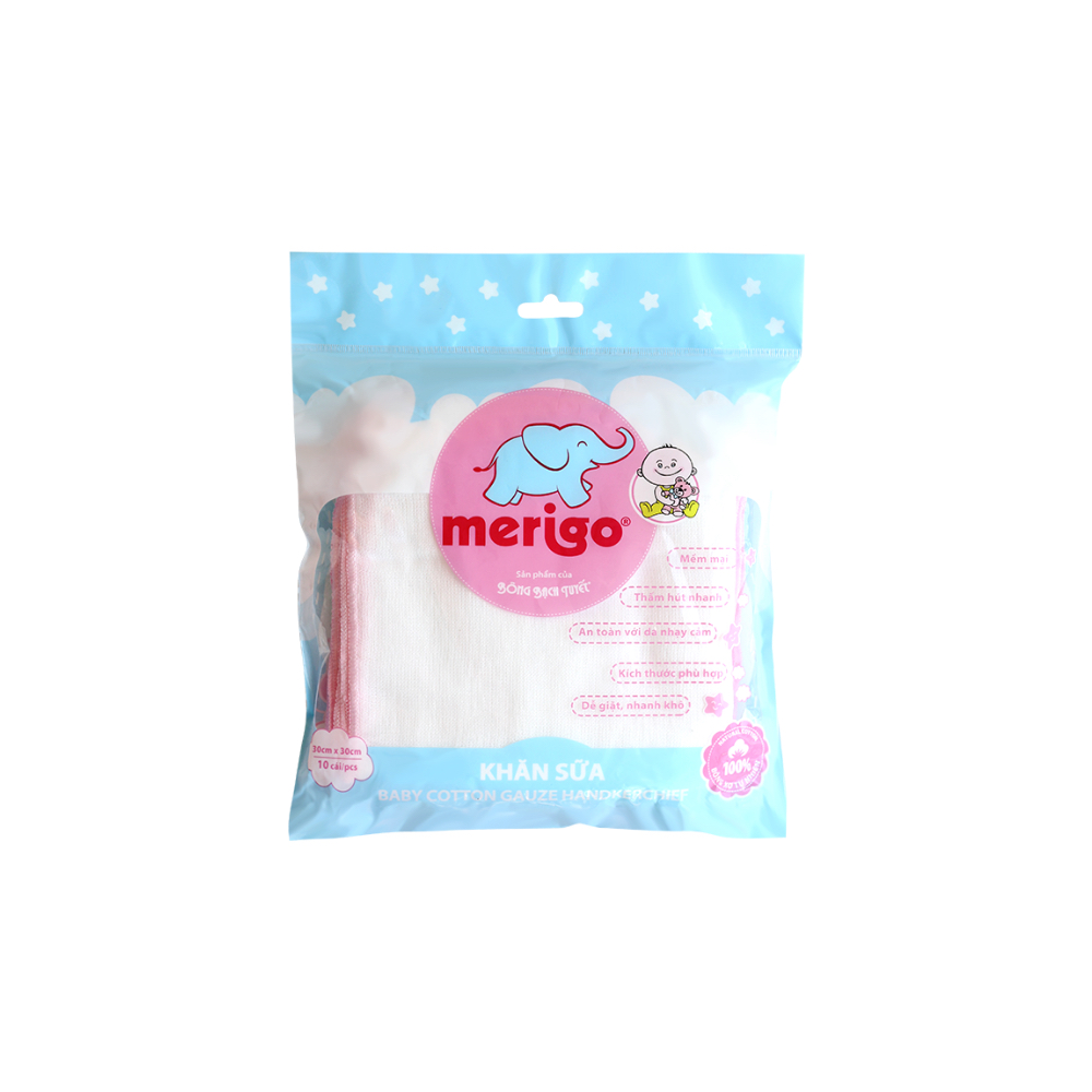 Pink-trim kotton care for kid cotton gauze handkerchief
