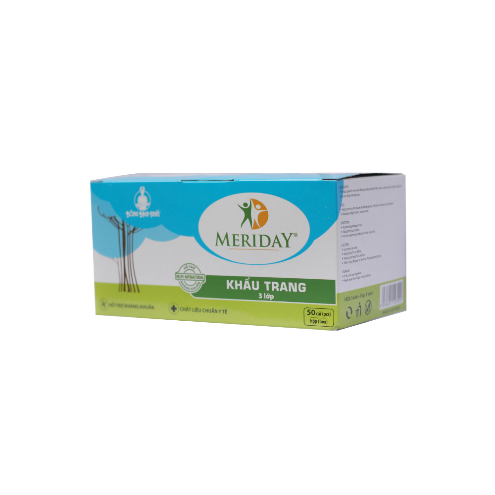 Khẩu trang Y tế Meriday 3 lớp xanh | Bông Bạch Tuyết