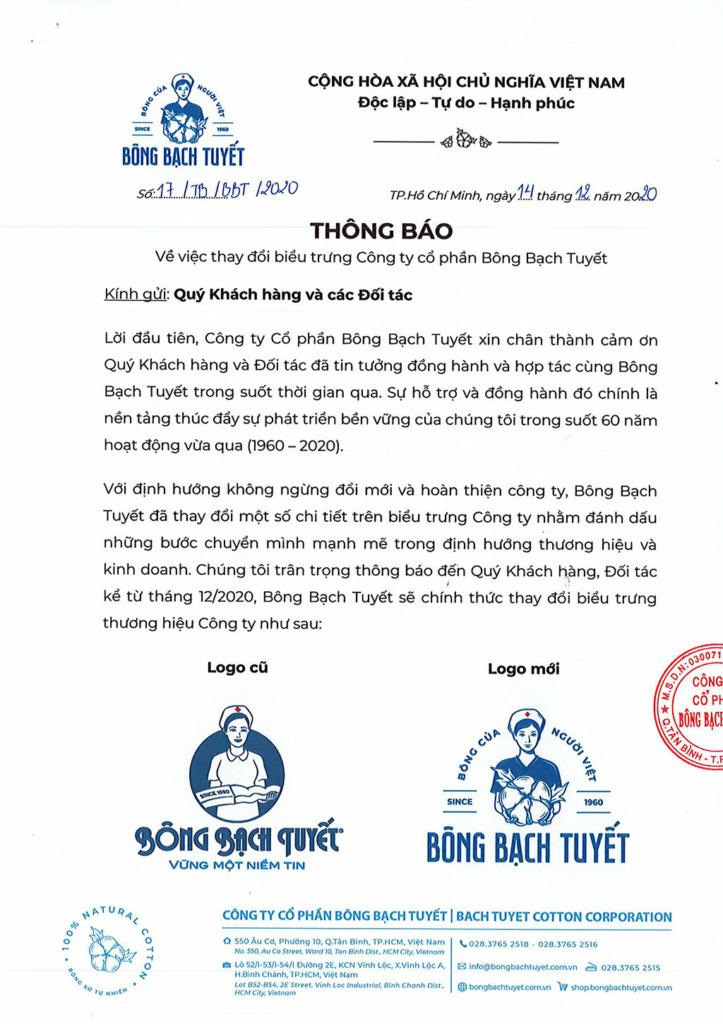 thông báo sử dụng logo mới Bông Bạch Tuyết