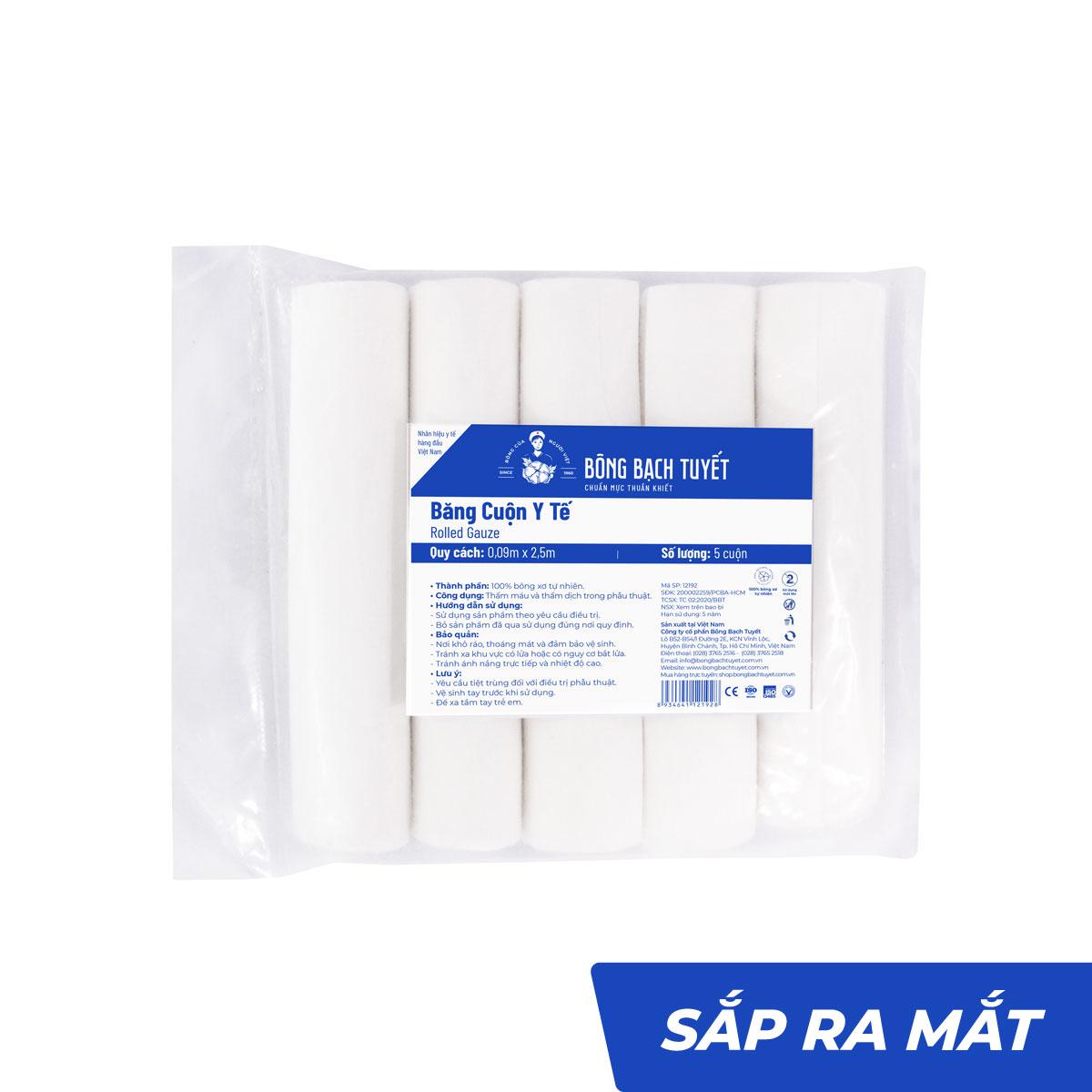 Băng cuộn y tế băng bó vết thương không tiệt trùng - Bông Bạch Tuyết