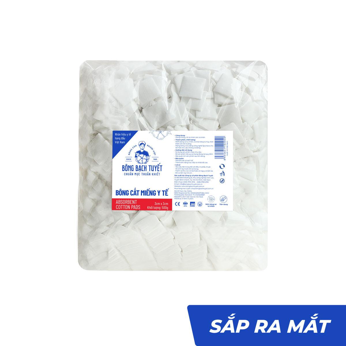 Bông y tế cắt miếng 3cmx3cm tiệt trùng thấm nước - Bông Bạch Tuyết
