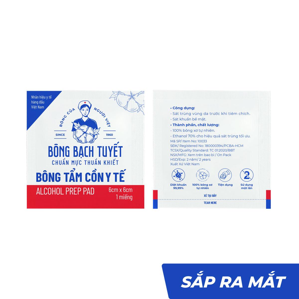 Bông tẩm cồn y tế 6cmx6cm tiệt trùng thấm nước tốt - Bông Bạch Tuyết