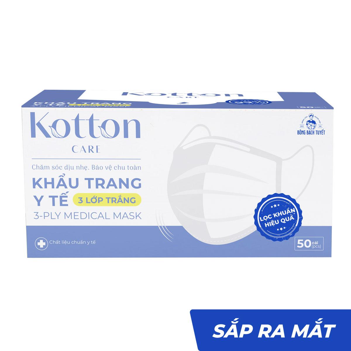 Khẩu trang y tế trắng 3 lớp 10-50 cái kháng khuẩn - Kotton Care