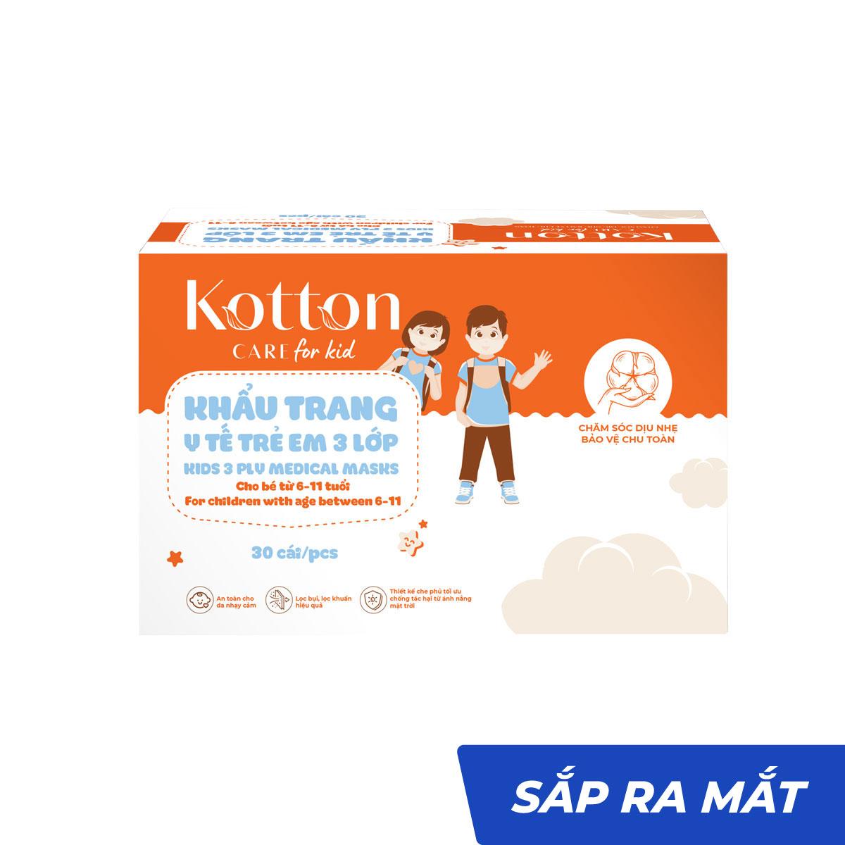 Khẩu trang y tế trẻ em 3 lớp 30 cái kháng khuẩn - Kotton Care for Kid