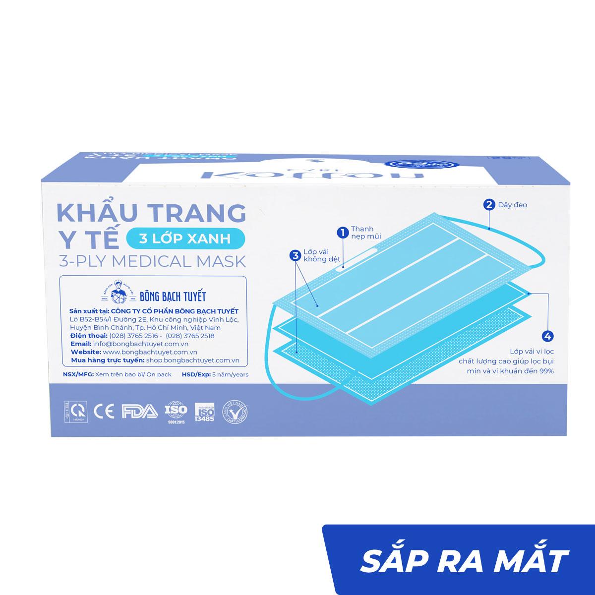 Khẩu trang y tế xanh 3 lớp 10-50 cái kháng khuẩn - Kotton Care