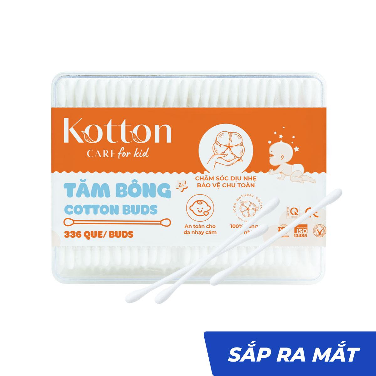 Tăm bông trẻ em thân nhựa 330 cái tiệt trùng - Kotton Care for Kid