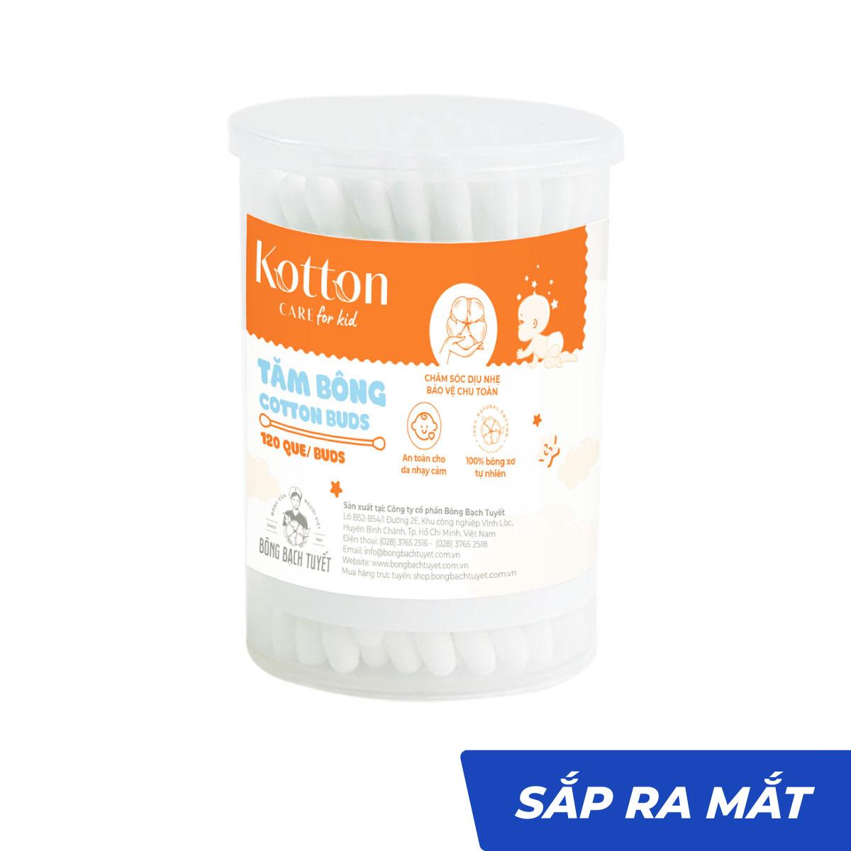 Tăm bông trẻ em thân nhựa 120 que tiệt trùng - Kotton Care for Kid