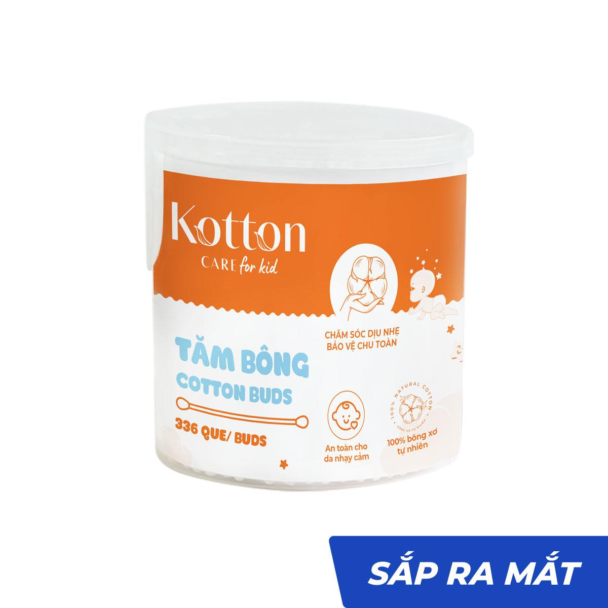 Tăm bông trẻ em thân nhựa hộp tròn tiệt trùng - Kotton Care for Kid