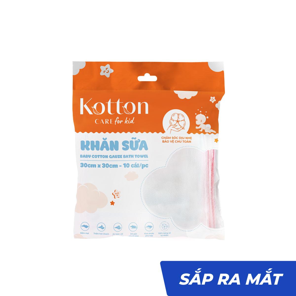 Khăn sữa cotton 2 lớp viền hồng không xù lông - Kotton Care for Kid