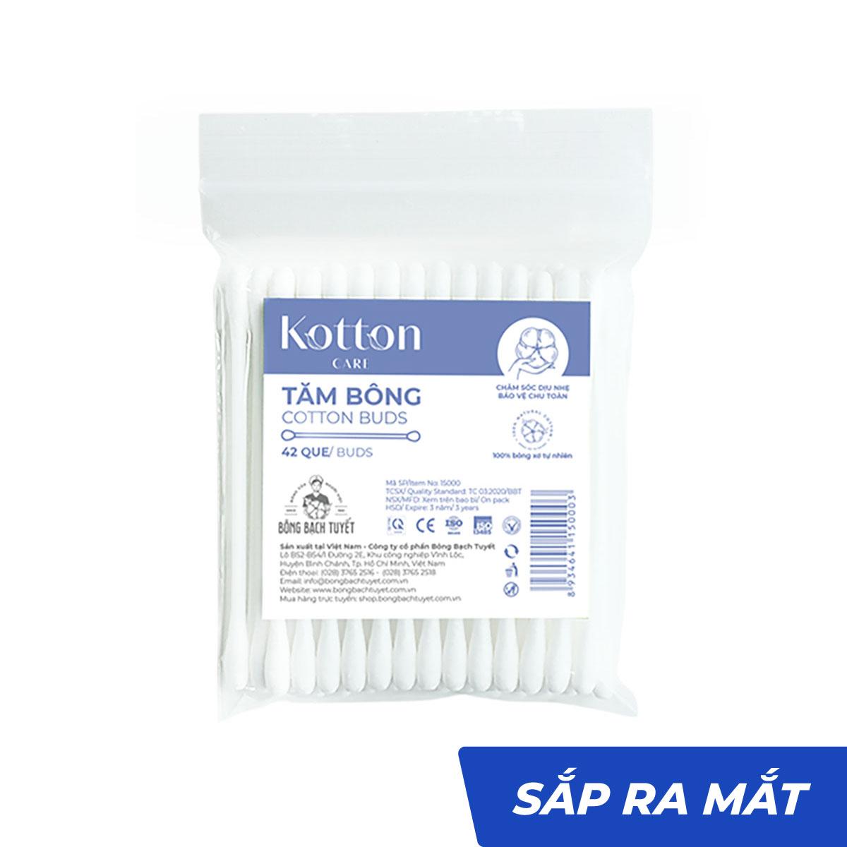 Tăm bông thân nhựa gói 42 que tiệt trùng - Bông Bạch Tuyết