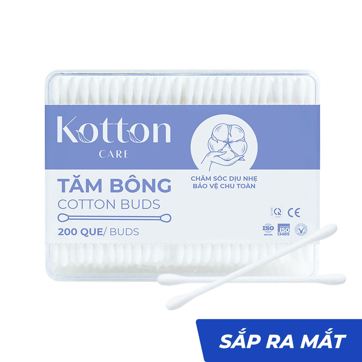 Tăm bông thân nhựa hộp chữ nhật 200 que Kotton Care